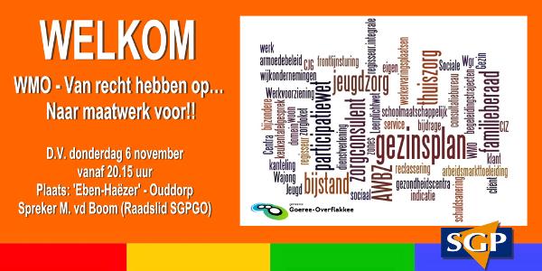 WMO – Van recht hebben op… Naar maatwerk voor!!