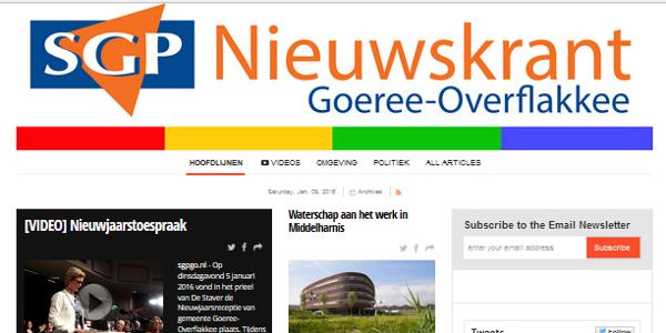 Digitale nieuwskrant voor SGP Goeree-Overflakkee