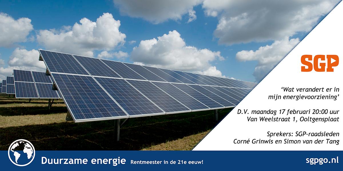 De SGP praat u bij over veranderingen in energievoorzieningen