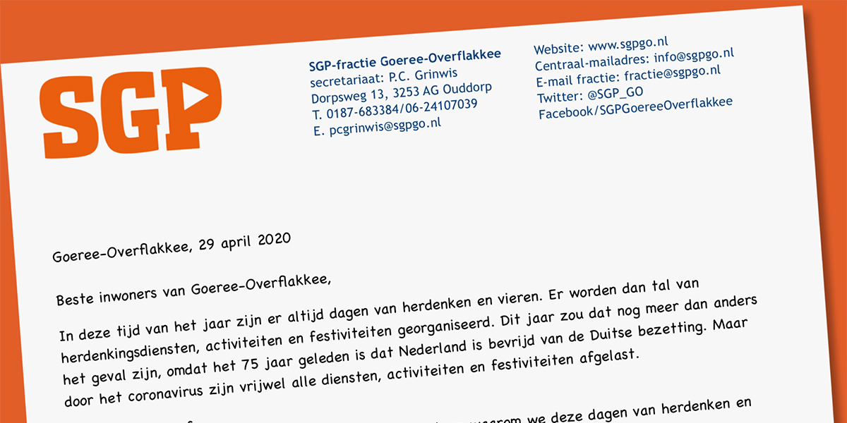 Open brief SGP over herdenken